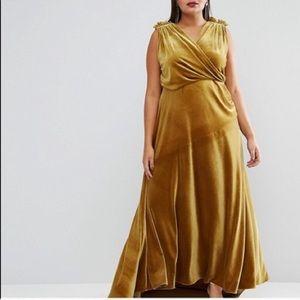 ASOS Curve Dresses - ISO ASOS CURVE YELLOW VELVET DRESS 22-24-26